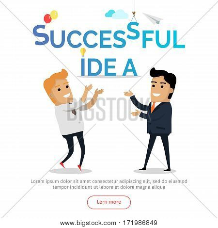 Successful idea web banner. Two happy businessman rejoice good solution flat vector. Team brain storm, teamwork, business process, pleasure from work concept. For creative company landing page