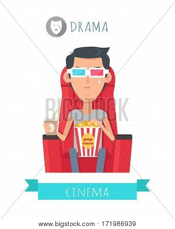 Drama film concept. Crying moved man seating on comfortable chair with drink and popcorn in cinema isolated flat vector. Cinemaddict on film premiere. Entertainment on 3D attraction. For movie promo