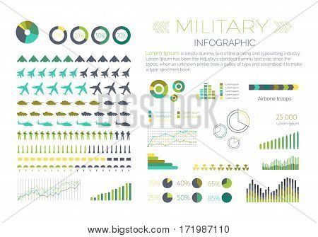 Military infographic elements set. Aircraft, tanks, helicopters, missile, soldier, paratrooper isolated vector silhouettes. Armament symbols, armed forces icons, various colored diagrams and data