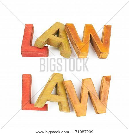 Word Law made of colored with paint wooden letters, composition isolated over the white background, set of two different foreshortenings