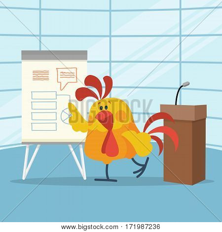 Rooster builds business plans. Cock cartoon character points on flip chart with graphs on stage flat vector. Plans for next year concept. Chinese zodiac calendar animal character. Strategy in new year