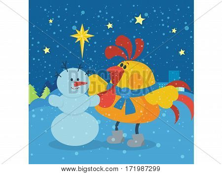 Rooster sculpts snowman. Cute cock dancing near snowman at Christmas eve night flat vector. Chinese zodiac calendar cartoon character. Merry Christmas and Happy New Year concept for greeting cards