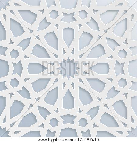 Vector muslim mosaic persian motif. Mosque decoration element. Islamic geometric pattern. Elegant white oriental ornament traditional arabic art. Illustration for brochures greeting cards