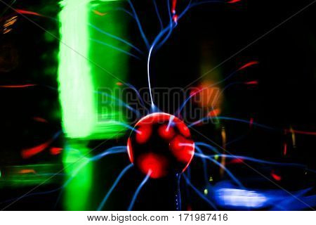 Plasma ball. Gas discharge lamp. At the science Museum. poster