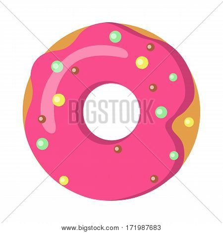 Doughnut with pink sprinkles isolated on white. Simple cartoon design. Colourful small balls. Huge tasty donut with big round hole inside. Green and yellow bubbles. Flat design. Vector illustration