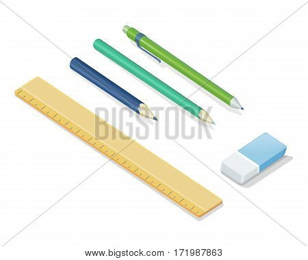 Stationery set. Pencils, ballpoint pen, eraser, ruler vector illustrations in isometric projection isolated on white background. Office supplies collection. For educational, drawing, business concepts