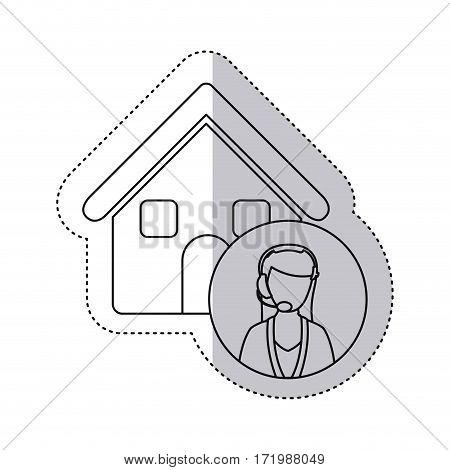 sticker monochrome contour house with female customer service vector illustration