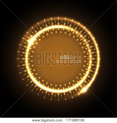 Abstract techno background with spirals and rays with glowing particles. Tech design. Lights vector frame. Glowing dots.  brown, beige, bronze, sepia, chocolate, gold