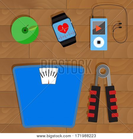 Health and sport vector. Activity fitness and diet illustration