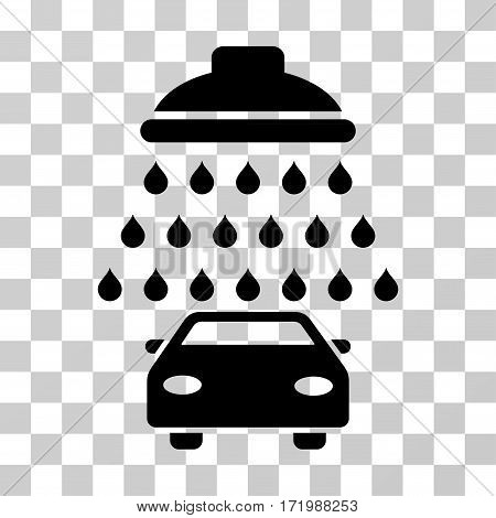 Car Shower vector pictogram. Illustration style is a flat iconic black symbol on a transparent background.