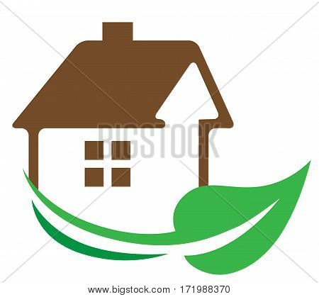 Real estate vector icon on a white background. Eco House building concept