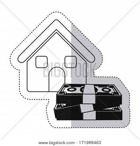 sticker monochrome contour house with many dollars bill stack vector illustration