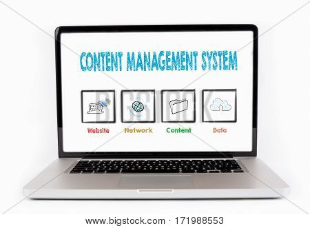 Content Management System, Business concept. Laptop isolated on white background.