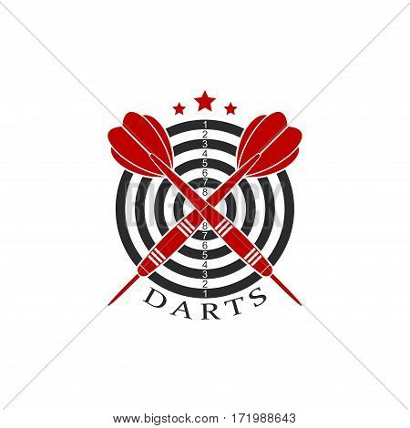 Darts label sports emblem and symbol isolated on white background. Dart board target with with crossed darts arrows icon. Vector Illustration