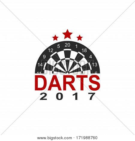 Darts label sports emblem and symbol isolated on white background. Dart board target icon. Vector Illustration