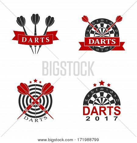 Darts set labels sports emblem and symbol isolated on white background. Dart boards target with darts arrow icon. Vector Illustration