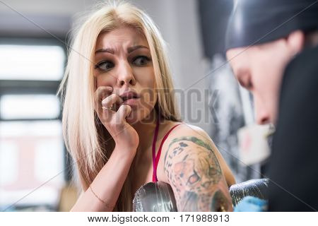 Young sexy blonde in pink top in tatto studio looking with fear at tattoo master drawing tiger on girl s forearm