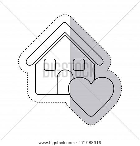 sticker monochrome contour house with icon heart vector illustration