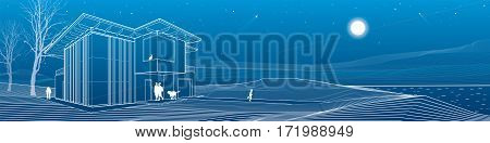 Modern house, people walking on sea shore. Mountains on background. Architecture and nature panorama, night scene, white lines, vector design art