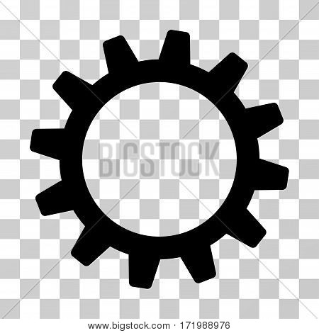 Cogwheel vector pictograph. Illustration style is a flat iconic black symbol on a transparent background.