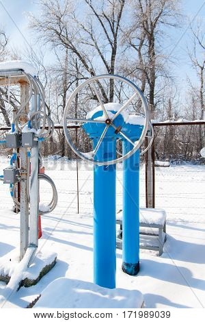 Drive the ball valve Winter day Russia