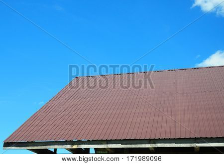 Roofing Construction. Metal Roof House Building Construction.