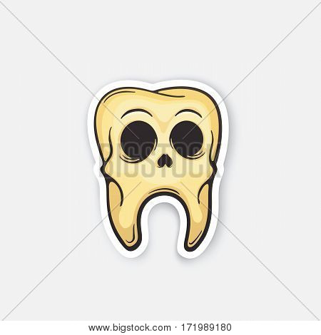 Vector illustration. Skull of sick tooth. Oral hygiene. Dead tooth with caries. Cartoon sticker in comics style with contour. Decoration for greeting cards, posters, patches, prints for clothes