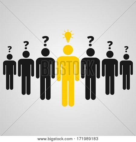 People standing, man with an idea, vector icon