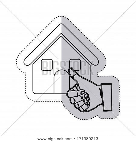 sticker monochrome contour house with hand thumb up vector illustration