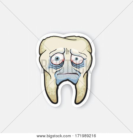 Vector illustration. Sad sick tooth with red eyes and bristles. Oral hygiene. Sick tooth with caries. Cartoon sticker in comics style with contour. Decoration for greeting cards, patches, prints for clothes