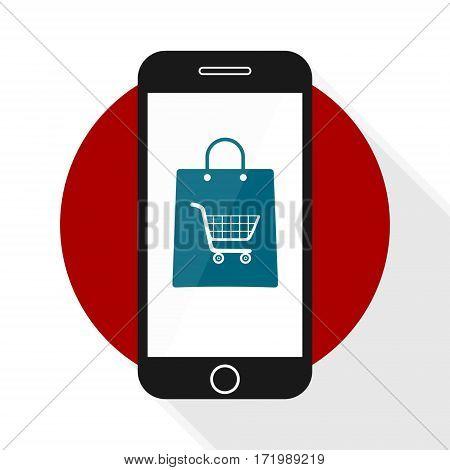 Mobile Commerce Icon shopping button, vector icon