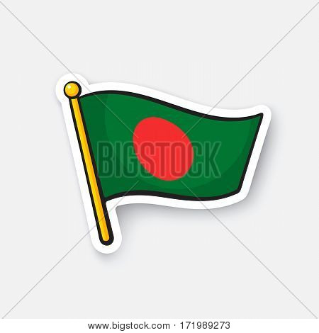 Vector illustration. Flag of Bangladesh. Location symbol for travelers. Cartoon sticker with contour. Decoration for greeting cards, posters, patches, prints for clothes, emblems