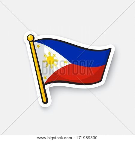 Vector illustration. Flag of the Philippines. Location symbol for travelers. Cartoon sticker with contour. Decoration for greeting cards, posters, patches, prints for clothes, emblems