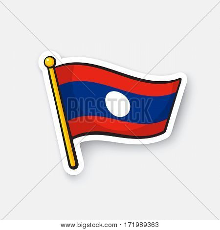 Vector illustration. Flag of Laos. Location symbol for travelers. Cartoon sticker with contour. Decoration for greeting cards, posters, patches, prints for clothes, emblems