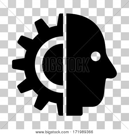 Cyborg Head vector pictograph. Illustration style is a flat iconic black symbol on a transparent background.