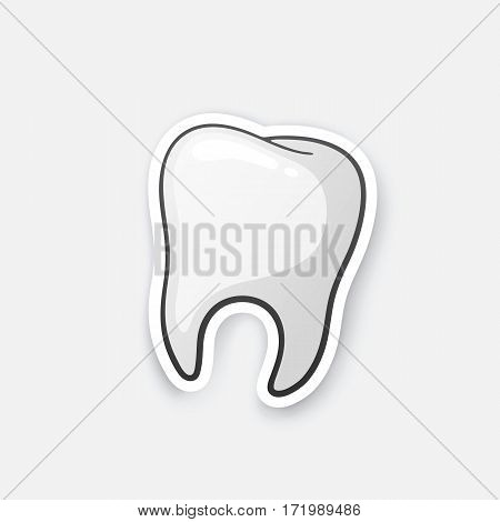 Vector illustration. Human tooth. Oral hygiene. Cartoon sticker in comics style with contour. Decoration for greeting cards, posters, patches, prints for clothes, emblems