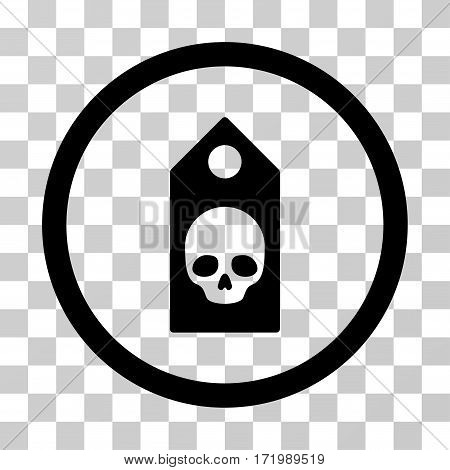 Death Coupon vector icon. Illustration style is a flat iconic black symbol on a transparent background.