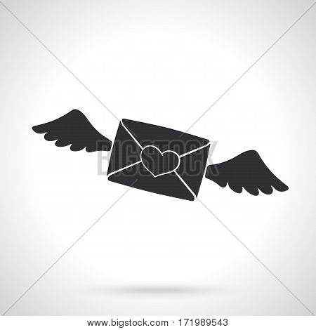 Vector illustration. Silhouette of flying closed envelope with wax heart and wings. Template or pattern. Decoration for greeting cards, wallpapers, emblems