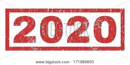 2020 text rubber seal stamp watermark. Caption inside rectangular shape with grunge design and dust texture. Horizontal vector red ink emblem on a white background.