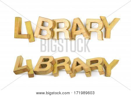 Word Library made of colored with paint wooden letters, composition isolated over the white background, set of two different foreshortenings