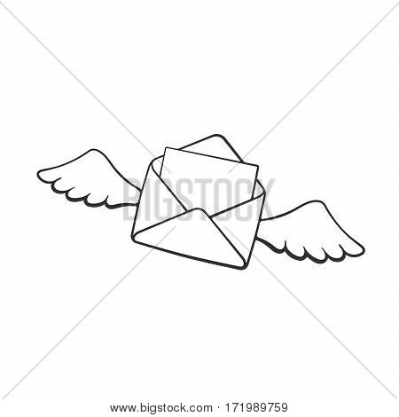 Vector illustration. Hand drawn doodle of flying opened envelope with wings. Incoming message has been read. Cartoon sketch. Decoration for greeting cards, posters, emblems