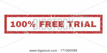 100 Percent Free Trial text rubber seal stamp watermark. Caption inside rectangular banner with grunge design and dust texture. Horizontal vector red ink sign on a white background.