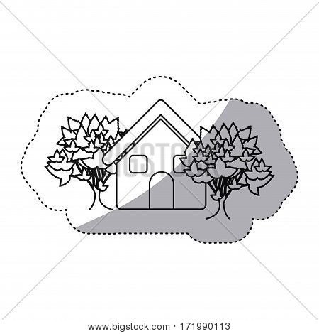 sticker monochrome contour house with trees vector illustration