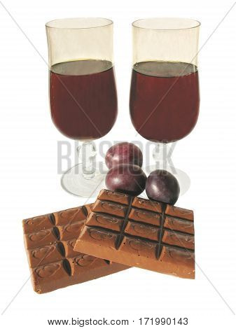two wine goblets wine with chocolate and plums