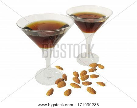 two alcohol wine goblets with nuts isolated