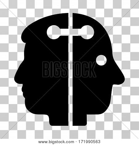 Dual Head Connection vector pictogram. Illustration style is a flat iconic black symbol on a transparent background.