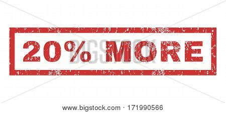 20 Percent More text rubber seal stamp watermark. Caption inside rectangular banner with grunge design and scratched texture. Horizontal vector red ink sticker on a white background.