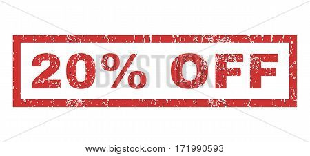 20 Percent Off text rubber seal stamp watermark. Tag inside rectangular banner with grunge design and scratched texture. Horizontal vector red ink sign on a white background.