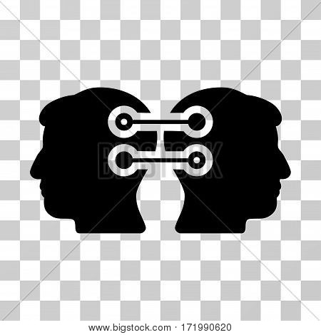 Dual Heads Interface Connection vector icon. Illustration style is a flat iconic black symbol on a transparent background.