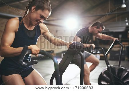 Fit People In Gym While Hard Training